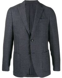 Dell'Oglio Houndstooth fitted blazer - Bleu