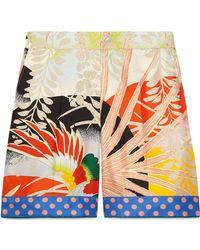 Gucci - Tropical Bird Silk Shorts - Lyst