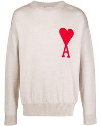 AMI Men Ami De Coeur Intarsia Oversize Crew Neck Sweater - Multicolour