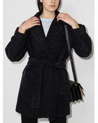 Ganni Однобортное Пальто Из Букле - Серый