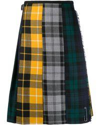 Le Kilt Plaid Paneled Midi Skirt - Yellow