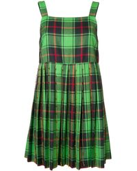 Marco De Vincenzo Pleated Embellished Checked Wool Mini Dress Bright Green