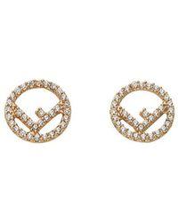 Fendi - Embellished Logo Earrings - Lyst