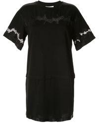 3.1 Phillip Lim Атласное Платье-футболка С Кружевной Вставкой - Черный