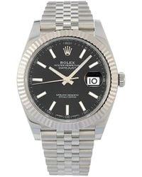 Rolex 2020 Ungetragene Oyster Perpetual Datejust Armbanduhr, 41mm - Schwarz