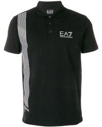 EA7 - Stripe Detail Polo Shirt - Lyst