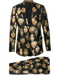 Dolce & Gabbana Traje Sacred Heart con botones - Negro