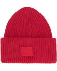 Acne Studios Ribbed Beanie Hat - Red
