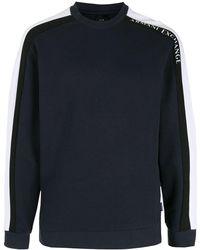 Armani Exchange コントラストストライプ スウェットシャツ - ブルー