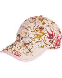 Gucci Gorra de béisbol con logo y diseño floral - Rosa