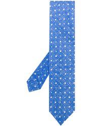 Kiton Corbata con motivo de cuadrados - Azul