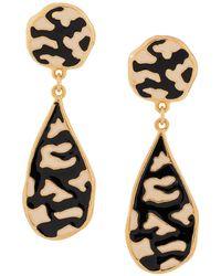 Dior Emaillierte Ohrringe mit Zebramuster - Schwarz