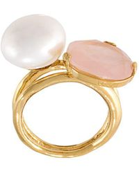 Wouters & Hendrix 'my Favourite' Rose Quartz And Pearl Ring - Metallic