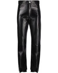 Manokhi Slim Fit Leather Trousers - Black