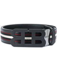 Bally Mirror B Striped Belt - Black