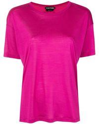 Tom Ford シルク Tシャツ - パープル