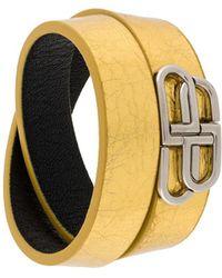 Balenciaga Logo Plaque Wrap Style Bracelet - Metallic