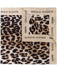 Ganni Brown Leopard Print Scarf