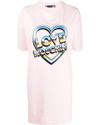 Love Moschino Платье-футболка С Короткими Рукавами И Логотипом - Розовый