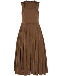 Sara Lanzi プリーツスカート ドレス - ブラウン