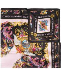 Versace Jeans Couture Foulard en soie à imprimé Tuileries - Noir
