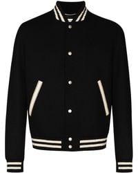 Saint Laurent Куртка-бомбер С Контрастной Отделкой - Черный