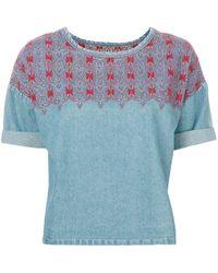 Current/Elliott 刺繍ディテール トップス - ブルー