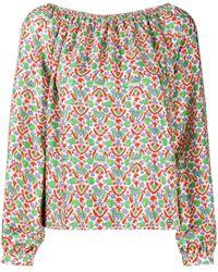 Tory Burch Платье С Открытыми Плечами И Принтом Пейсли - Зеленый