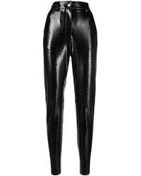 MSGM High-shine Textured Trousers - Black