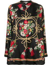 Gucci Блузка С Цветочным Узором - Черный
