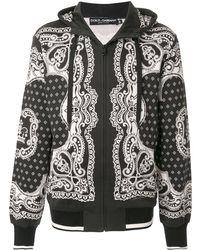 Dolce & Gabbana Худи На Молнии С Принтом - Черный