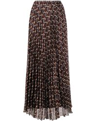 P.A.R.O.S.H. Abstract-print A-line Chiffon Skirt - Brown