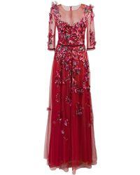 Marchesa notte Tüllrobe mit Blumenstickerei - Rot