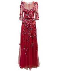 Marchesa notte Vestido de tul con bordado floral - Rojo