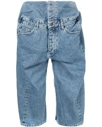 Y. Project Pop-up Denim Shorts - Blue