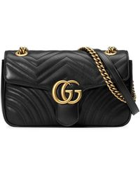 Gucci - Black GG Marmont Small Matelassé Leather Shoulder Bag - Lyst
