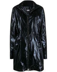 Karl Lagerfeld Ikonik Metallic Parka Coat - Black