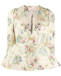 Brock Collection Floral-jacquard Cotton-blend Jacket - Natural
