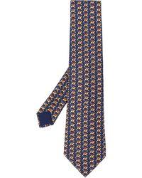 Hermès Pre-owned Horse Racing Print Tie - Blue