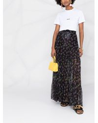 MSGM Falda con estampado floral - Negro