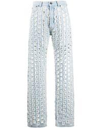 Maison Margiela Punch-hole Detail Denim Jeans - Blue