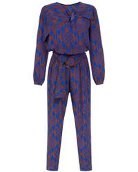 Andrea Marques Printed Silk Jumpsuit - Blue