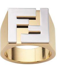 Fendi Кольцо С Логотипом Ff - Металлик