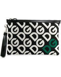 Dolce & Gabbana Clutch Con El Logo Dg Estampado - Negro