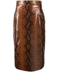 DSquared² Snakeskin Effect Skirt - Brown