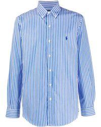 Polo Ralph Lauren Gestreiftes Button-down-Hemd - Blau