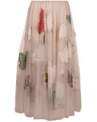 Valentino Butterfly Beaded Tulle Midi Skirt - Multicolour