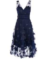 Marchesa notte フローラル ドレス - ブルー