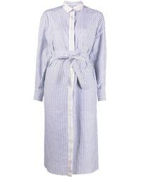 Agnona ストライプ シャツドレス - ブルー