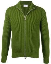 Fedeli Zip-through Ribbed Jumper - Green